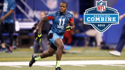 University of Texas wide receiver Marquise Goodwin catches passes at the 2013 NFL Scouting Combine at Lucas Oil Stadium in Indianapolis, on February 24, 2013. (AP Photo/Ben Liebenberg)