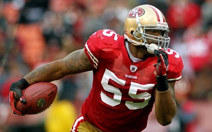 January 2, 2011; San Francisco, CA, USA; San Francisco 49ers linebacker Ahmad Brooks (55) returns an interception 32 yards against the Arizona Cardinals in the third quarter at Candlestick Park. The 49ers defeated the Cardinals 38-7. Mandatory Credit: Cary Edmondson-USA TODAY Sports