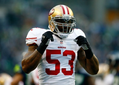SEATTLE, WA - JANUARY 19: Inside linebacker NaVorro Bowman #53 of the San Francisco 49ers reacts against the Seattle Seahawks during the 2014 NFC Championship at CenturyLink Field on January 19, 2014 in Seattle, Washington. (Photo by Jonathan Ferrey/Getty Images)
